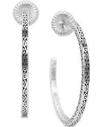Lois Hill - Large Filigree Hoop Earrings In Sterling Silver - Lyst