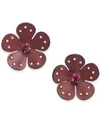 Kate Spade - Gold-tone Leather Flower Stud Earrings - Lyst