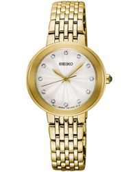 Seiko - Crystal Gold-tone Stainless Steel Bracelet Watch 28.5mm - Lyst