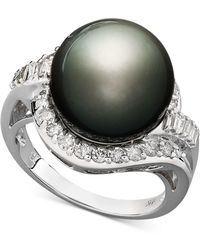 Macy's - 14k White Gold Ring, Cultured Tahitian Pearl (12mm) And Diamond (5/8 Ct. T.w.) Ring - Lyst