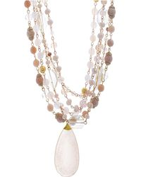 Catherine Malandrino - Pink Rhinestone Yellow Gold-tone Multistrand Chain Necklace - Lyst