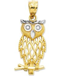 Macy's - 14k Gold And Sterling Silver Charm, Owl Charm - Lyst