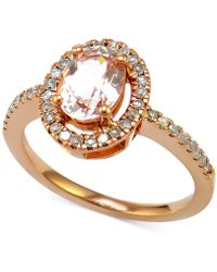 Macy's - Morganite (7/8 Ct. T.w.) And Diamond (1/4 Ct. T.w.) Halo-style Ring In 14k Rose Gold - Lyst