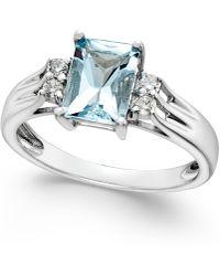 Macy's - Aquamarine (1-1/5 Ct. T.w.) And Diamond (1/10 Ct. T.w.) Ring 14k White Gold - Lyst