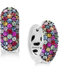 Effy Collection - Splash By Effy® Multicolor Sapphire Hoop Earrings (2-1/4 Ct. T.w.) In Sterling Silver - Lyst