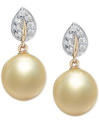Macy's - Cultured Golden South Sea Pearl (9mm) & Diamond (1/8 Ct. T.w.) Drop Earrings In 14k Gold - Lyst