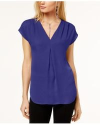 INC International Concepts   Inverted-pleat V-neck Top, Created For Macy's   Lyst