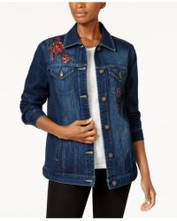 Style & Co. - Embroidered Denim Jacket - Lyst