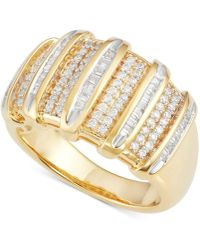 Macy's - Diamond Multi-row Ring (1/2 Ct. T.w.) In 14k Gold-plated Sterling Silver - Lyst