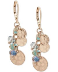 Lonna & Lilly - Gold-tone Shaky Disc & Bead Drop Earrings - Lyst