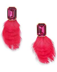 Kate Spade - Gold-tone Crystal & Feather Stud Earrings - Lyst