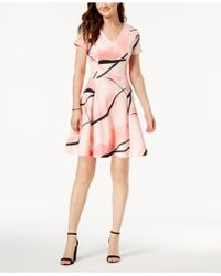 Ivanka Trump - V-neck Printed A-line Dress - Lyst