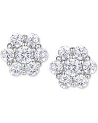 Macy's - Cubic Zirconia Flower Cluster Stud Earrings In Sterling Silver - Lyst
