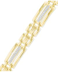 Macy's | Men's Diamond Link Bracelet (1/2 Ct. T.w.) In 10k Gold | Lyst