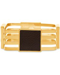 Steve Madden - Gold-tone Leather Multi-row Bangle Bracelet - Lyst