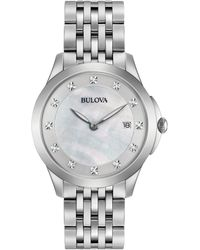 Bulova - Women's Diamond Accent Stainless Steel Bracelet Watch 36mm 96p174 - Lyst