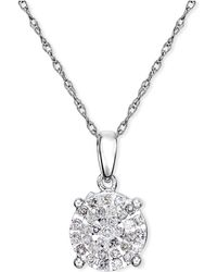 Macy's - Diamond Cluster Pendant Necklace (1/4 Ct. T.w.) In Sterling Silver - Lyst