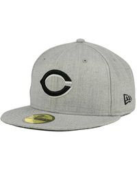 new style 15a95 e8361 KTZ - Cincinnati Reds Heather Black White 59fifty Cap - Lyst