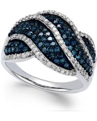 Wrapped in Love - White And Blue Diamond Twist Ring In Sterling Silver (1 Ct. T.w.) - Lyst