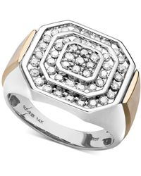 Macy's - Men's Diamond Ring In 14k Gold And Sterling Silver (1 Ct. T.w.) - Lyst