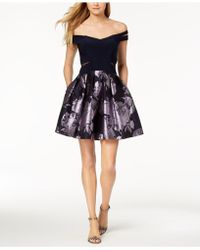 Xscape - Strappy Floral-print Fit & Flare Dress - Lyst
