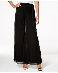 Alex Evenings - Mesh-overlay Wide-leg Pants - Lyst
