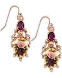 2028 - Rose Gold-tone Purple Crystal Flower Drop Earrings - Lyst