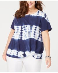 b957c0be5e3 INC International Concepts - I.n.c. Plus Size Cotton Tie-dye Twist-front T-