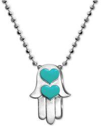 """Alex Woo - Enamel Heart Hamsa Hand 16"""" Pendant Necklace In Sterling Silver - Lyst"""