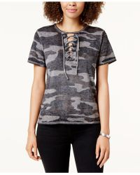 Lucky Brand - Camouflage-print Lace-up T-shirt - Lyst