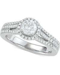 Marchesa - Diamond Halo Engagement Ring (1 Ct. T.w.) In 18k White Gold - Lyst