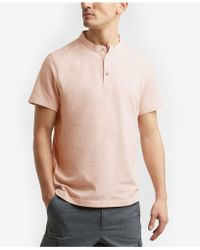 Kenneth Cole Reaction - Waffle-knit Band-collar Henley - Lyst