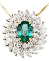 Rare Featuring Gemfields - Certified Emerald (9/10 Ct. T.w.) And Diamond (1-1/4 Ct. T.w.) Pendant Necklace In 14k Gold - Lyst