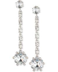 Carolee | Silver-tone Crystal Linear Drop Earrings | Lyst