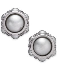 Charter Club - Silver-tone Imitation Pearl Stud Earrings, Created For Macy's - Lyst