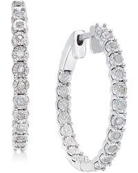 Macy's - Diamond Hoop Earrings (1/4 Ct. T.w.) In Sterling Silver - Lyst