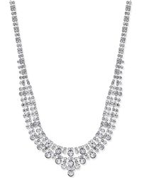 Charter Club - Silver-tone Two-row Crystal Collar Necklace - Lyst