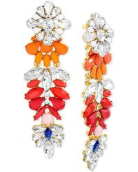 Steve Madden - Gold-tone Multi-stone Flower Chandelier Earrings - Lyst