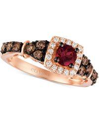 Le Vian - Chocolatier® Raspberry Rhodolite® Garnet (3/8 Ct. T.w.) And Diamond (5/8 Ct. T.w.) Ring In 14k Rose Gold - Lyst