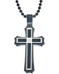 Macy's - Men's Diamond Accent Cross Pendant Necklace In Stainless Steel And Ion-plating - Lyst