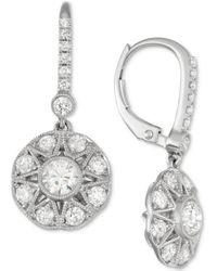 Marchesa - Diamond Cluster Drop Earrings (1-3/8 Ct. T.w.) In 18k White Gold - Lyst
