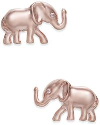 Kate Spade - Rose Gold-tone Pavé Elephant Stud Earrings - Lyst