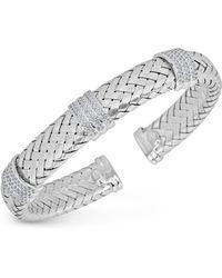 Macy's - Diamond Braided Cuff Bracelet (1-1/4 Ct. Tw.) In Sterling Silver - Lyst