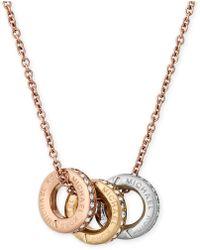 Michael Kors - Tri-tone Pavé Multi-pendant Necklace - Lyst