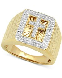 Macy's - Diamond Cross Ring (1/10 Ct. T.w.) In 18k Gold-plated Sterling Silver - Lyst