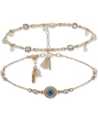 Lonna & Lilly - Gold-tone 2-pc. Set Crystal, Bead & Tassel Anklets, Created For Macy's - Lyst