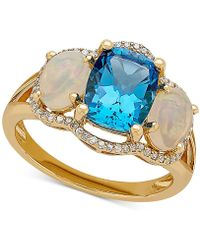 Macy's | Multi-gemstone (3-5/8 Ct. T.w.) & Diamond (1/6 Ct. T.w.) Ring In 10k Gold | Lyst