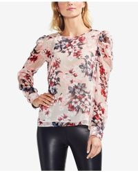 Vince Camuto - Printed Puff-shoulder Blouse - Lyst