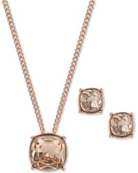 """Givenchy - Crystal Pendant Necklace & Stud Earrings Set, 16"""" + 3"""" Extender - Lyst"""