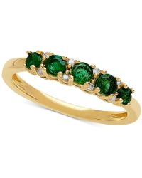 Macy's - Emerald (1/2 Ct. T.w.) & Diamond Accent Ring In 10k Gold - Lyst